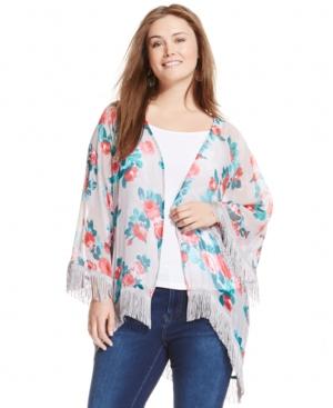 Jessica Simpson Plus Size Floral-Print Fringed Kimono Cardigan