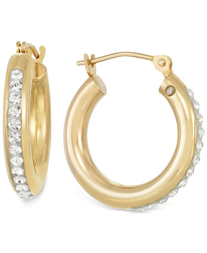 Signature Gold - Crystal Hoop Earrings in 14k Gold