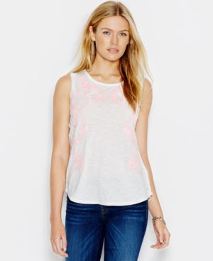 Guess Embroidered Tulip-Back Muscle Tank