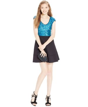 Emerald Sundae Juniors' Sequin-Top Scuba Skater Dress