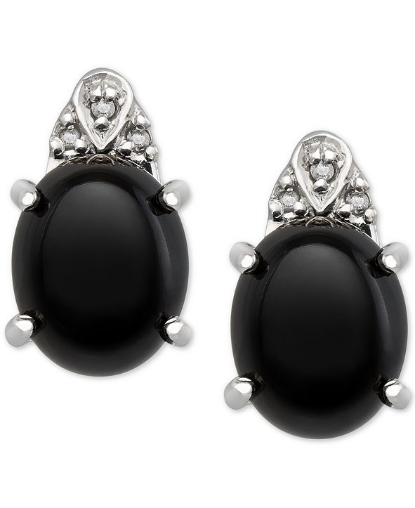 Macy's Onyx (8x10mm) and Diamond Accent Earrings in Sterling Silver