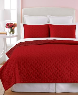CLOSEOUT! Martha Stewart Collection Basket Stitch Red Full/Queen Quilt