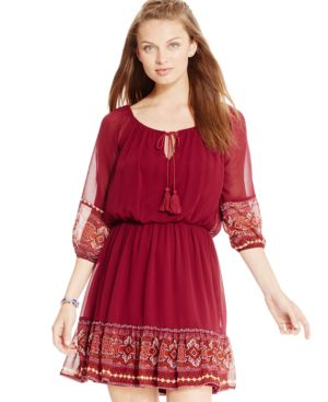 As U Wish Juniors' Border-Print Peasant Dress