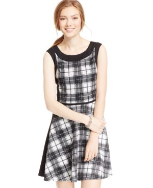 City Studios Juniors' Contrast-Trim Plaid Fit-and-Flare Dress