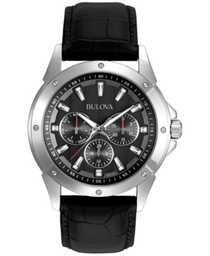 Bulova Men's Black Leather Strap Watch 43mm 96C113