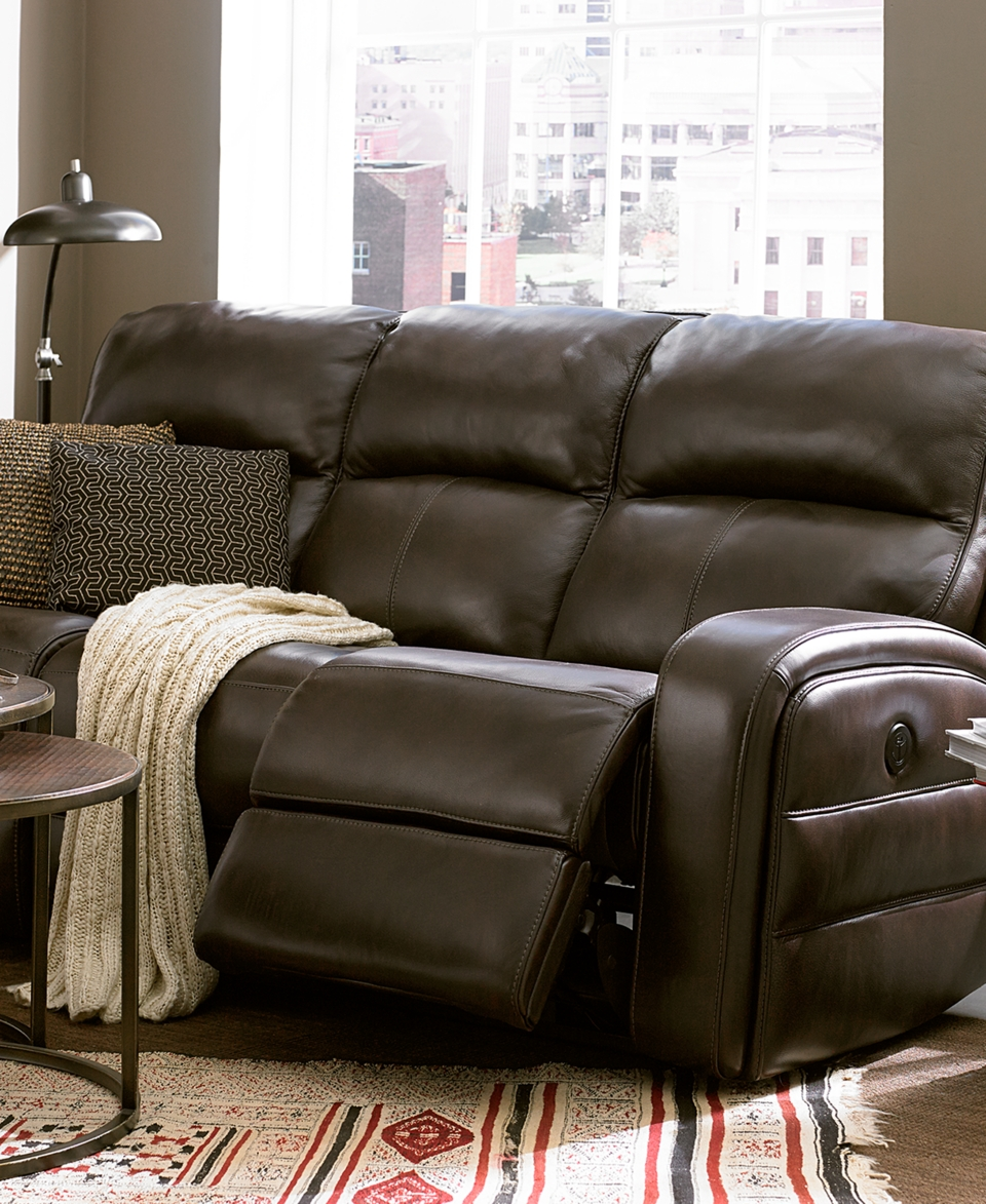 Hannon Leather Power Motion Sofa Collection Furniture On Popscreen