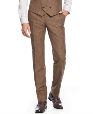 Bar Iii Brown Tweed Slim-Fit Pants Only at Macys $69.99 AT vintagedancer.com