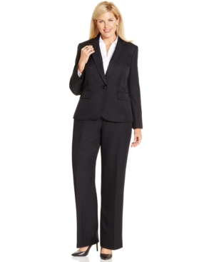 Plus Size Pinstriped One-Button Pantsuit