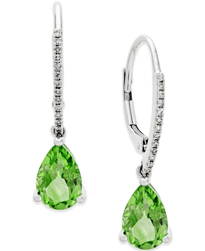 Macy's Peridot (2-1/2 ct. t.w.) and Diamond Accent Drop Earrings in 14k White Gold
