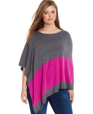 Inc International Concepts Plus Size Colorblocked Poncho, Only at Macy's