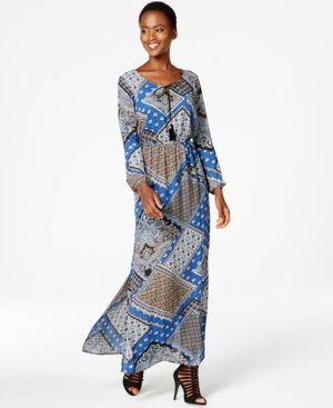Ny Collection Patchwork-Print Peasant Maxi Dress
