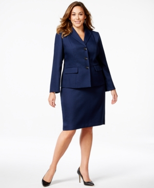 Le Suit Plus Size Tweed Skirt Suit