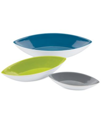 Dansk The Burbs Collection Stoneware 3-Pc. Canoe Bowls
