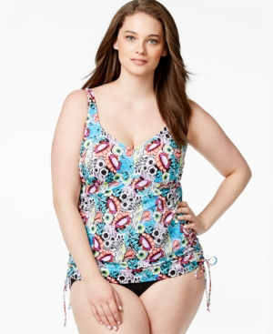 Swim Solutions Plus Size Side-Tie Printed One-Piece Swimsuit Women's Swimsuit plus size,  plus size fashion plus size appare