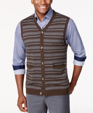 Tasso Elba Big and Tall Fairisle Argyle Sweater Vest Only at Macys $32.99 AT vintagedancer.com