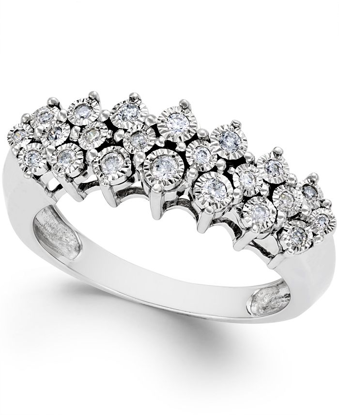 Macy's - Diamond Pyramid Ring (1/5 ct. t.w.) in Sterling Silver