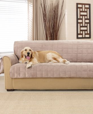 Sure Fit Deep Pile Polyester Velvet with Non-Skid Paw Print Back Sofa Furniture Cover