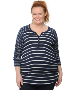 Motherhood Maternity Plus Size Striped Henley Top plus size,  plus size fashion plus size appare