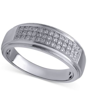 Beautiful Beginnings Men's Diamond Wedding Band (1/5 ct. t.w.) in Sterling Silver thumbnail