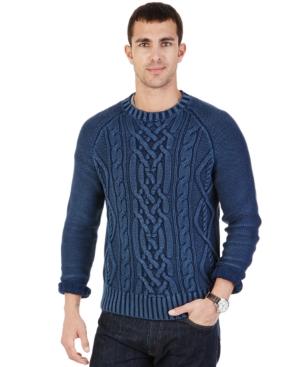 Nautica Cable-Knit Crew-Neck Sweater $89.99 AT vintagedancer.com