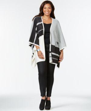 Nydj Plus Size Colorblocked Blanket Cardigan