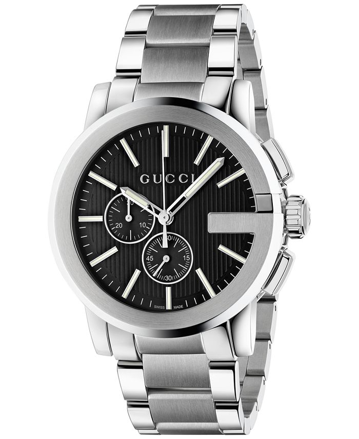 Gucci - Men's Swiss Chronograph Stainless Steel Bracelet Watch 44mm YA101204