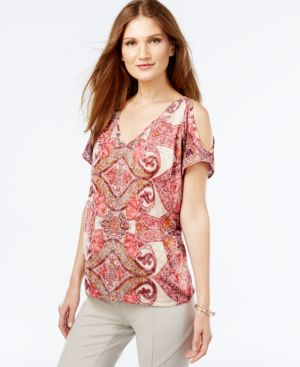 Inc International Concepts Embellished Cold-Shoulder Printed Top, Only at Macy's