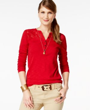American Living Lace-Inset Solid Henley Top, Only at Macy's