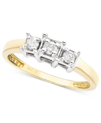 14k Gold Diamond Three-Stone Ring (1/4 ct. t.w.)