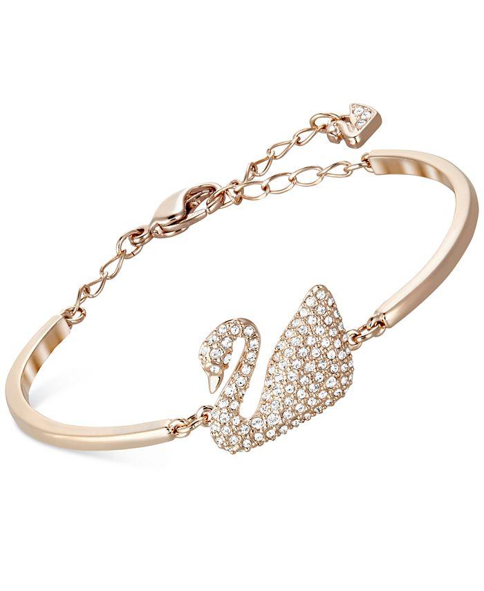 Rose Gold-Tone Crystal Swan Bangle Bracelet