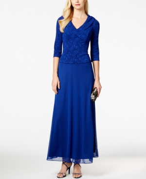 Alex Evenings Textured-Bodice A-Line Gown $134.99 AT vintagedancer.com
