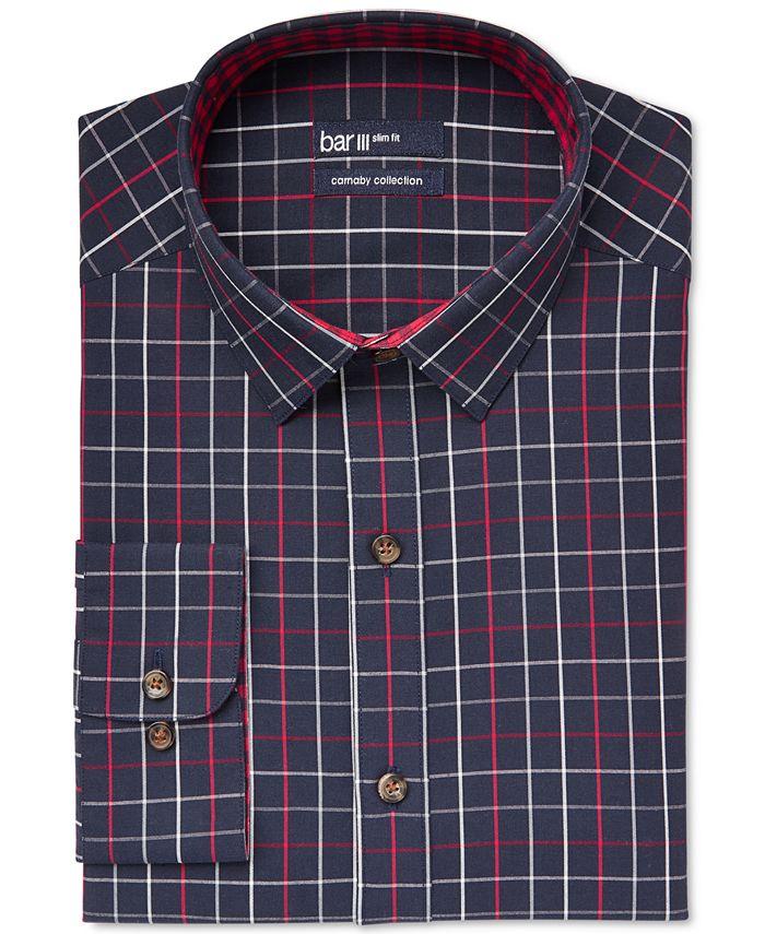 Bar III - Slim-Fit Navy Framed Check Dress Shirt