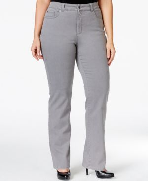 Charter Club Plus Size Tummy-Control Straight-Leg Jeans, Pearl Grey Wash, Only at Macy's