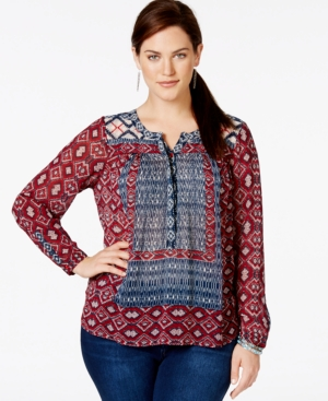 Lucky Brand Plus Size Mixed-Print Textured Peasant Blouse