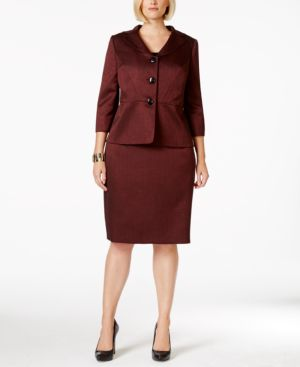 Le Suit Plus Size Three-Button Shawl-Collar Skirt Suit