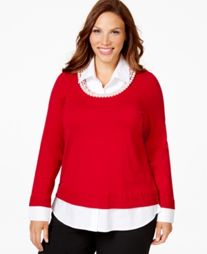 Charter Club Plus Size Embellished Layered-Look Sweater, Only at Macy's
