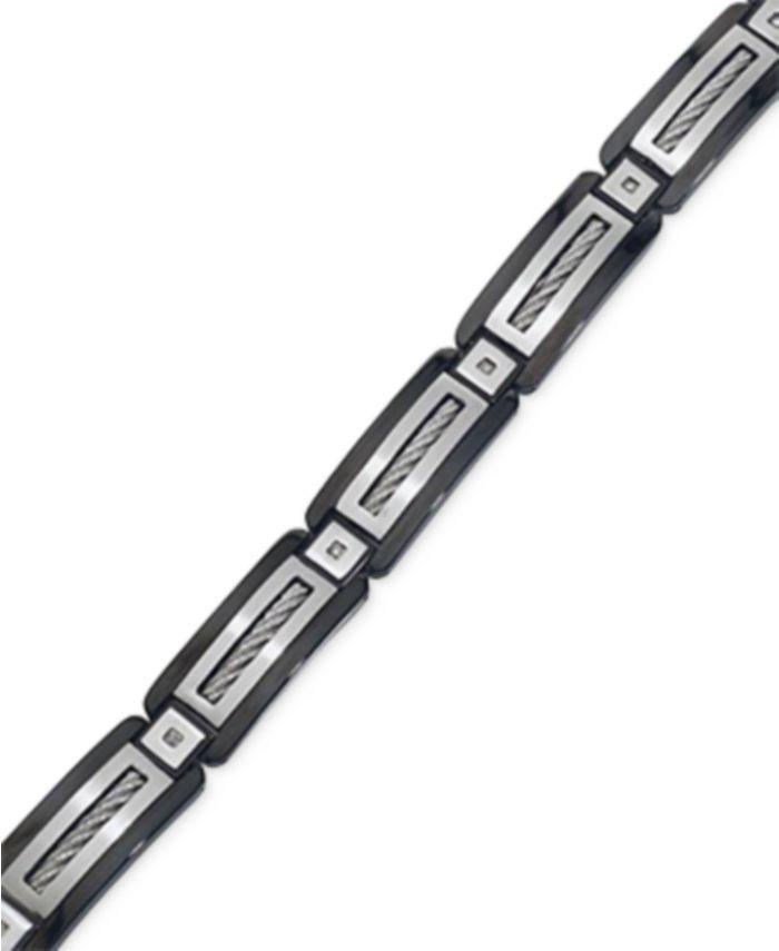 Macy's Men's Black Diamond Accent Bracelet in Stainless Steel & Reviews - Bracelets - Jewelry & Watches - Macy's
