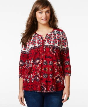 Lucky Brand Jeans Plus Size Three-Quarter-Sleeve Floral-Print Top