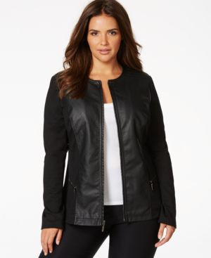 Alfani Plus Size Mixed-Media Faux-Leather Ponte Knit Jacket, Only at Macy's
