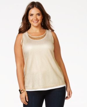 Inc International Concepts Plus Size Metallic Mesh Tank Top, Only at Macy's