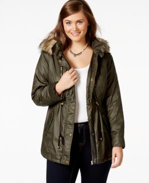 American Rag Plus Size Faux-Fur Hood Cinch-Waist Coat, Only at Macy's