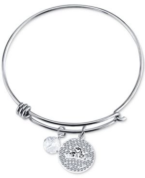 Disney Princess Tiara Crystal Charm Bracelet in Stainless Steel