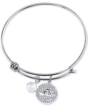 Disney Princess Tiara Crystal Charm Bracelet in Stainless Steel