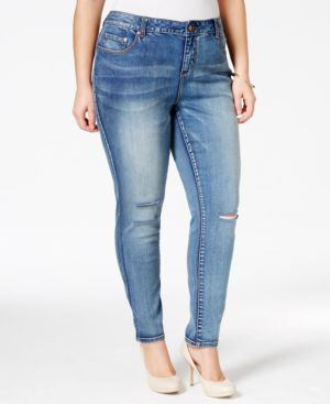American Rag Plus Size Ripped Becky Wash Skinny Jeans, Only at Macy's