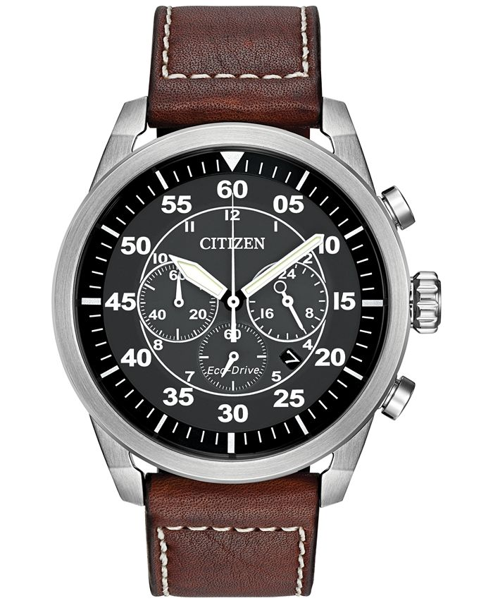 Citizen - Men's Chronograph Eco-Drive Brown Leather Strap Watch 45mm CA4210-24E