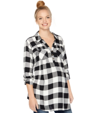 Motherhood Maternity Plaid Roll-Sleeve Shirt plus size,  plus size fashion plus size appare
