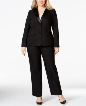 Le Suit Plus Size Satin-Trim Crepe Pantsuit