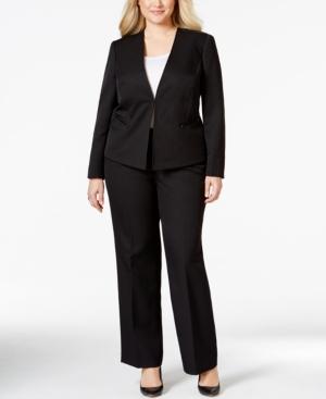 Tahari Asl Plus Size Shadow Stripe Pantsuit