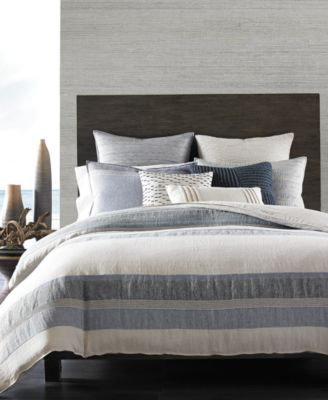 Hotel Collection Linen Stripe King Duvet Cover, Only at Macy's