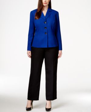 Le Suit Plus Size Three-Button Jacket Pantsuit